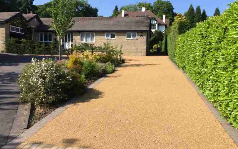 Resin bonded gravel for a private driveway Small residential private residential driveway