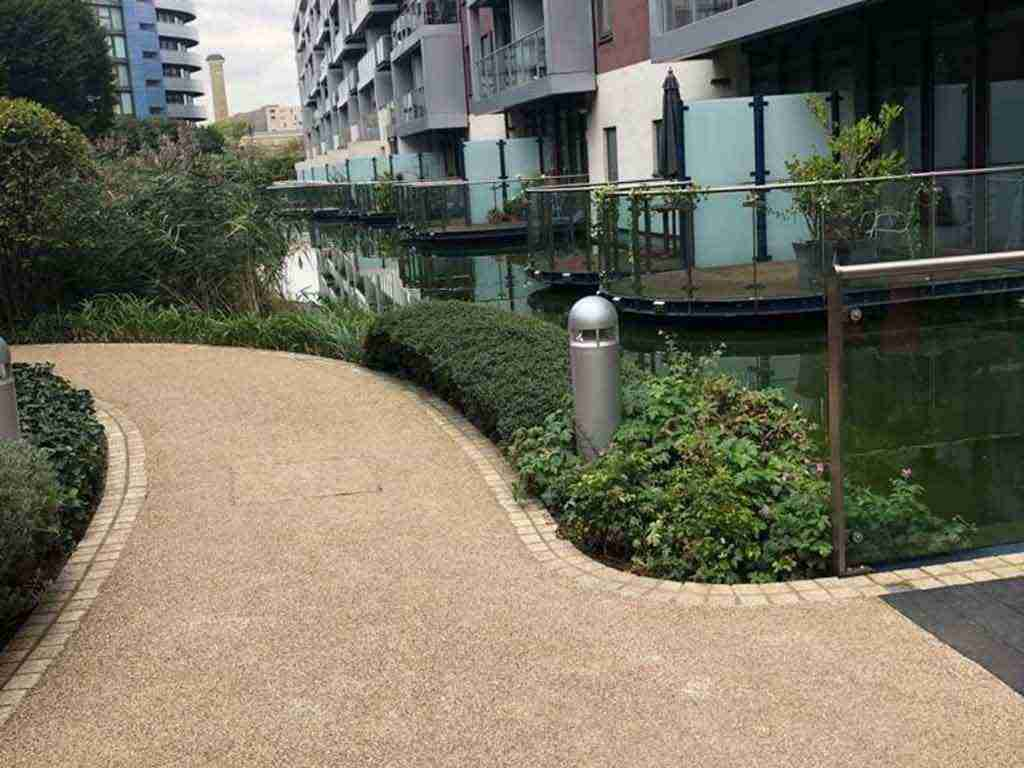 Decra stone Resin bonded brittany bronze pathway Chelsea Bridge Wharf