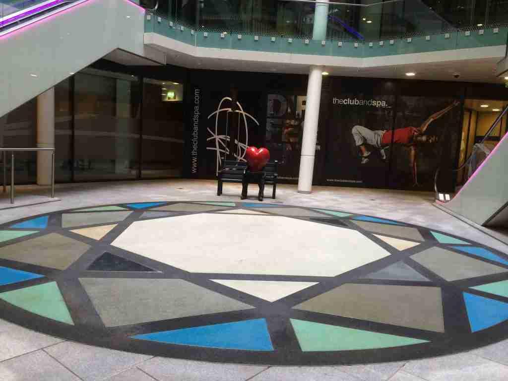 Decra®Set Resin Bound Various Coloured Glass Decorative centrepiece The Cube Birmingham installation