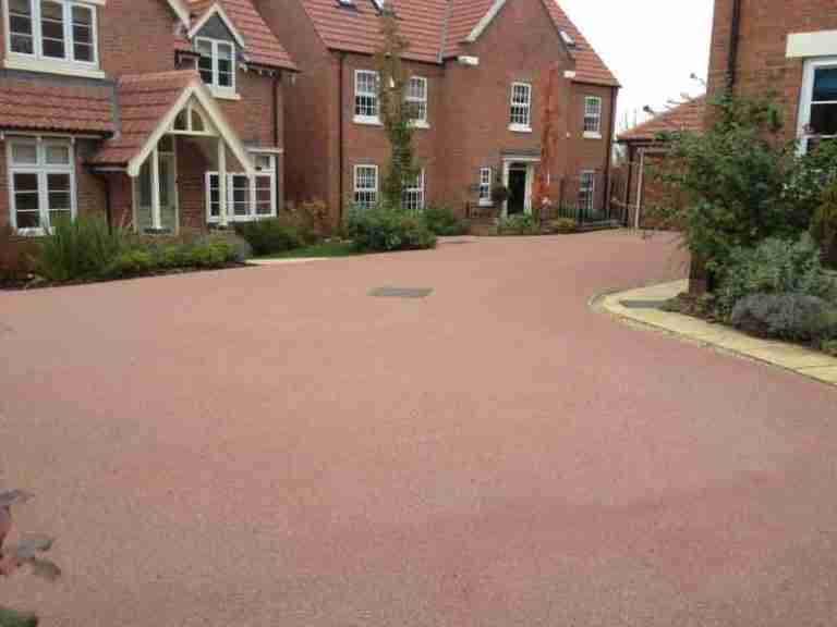 Coloured surfacing on driveway